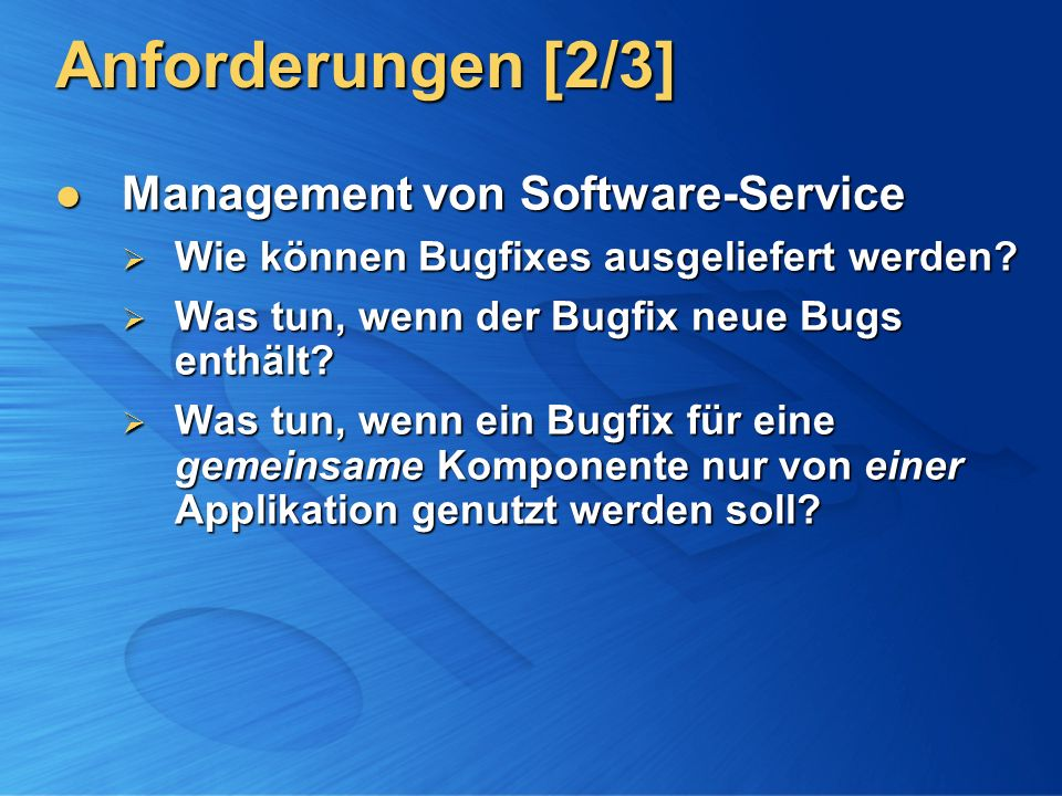 Anforderungen [2/3] Management von Software-Service